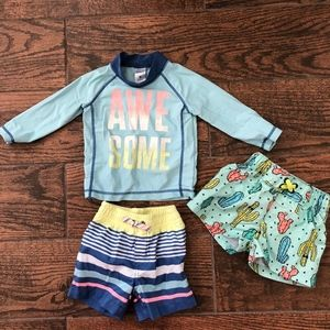 Baby Boy Swimsuit Shorts and Sun Shirt 9M